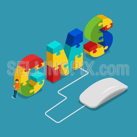 CMS content management system flat 3d isometry isometric concept web vector illustration. Computer mouse connected to C M S letters combined with puzzle pieces and micro man with tablet.