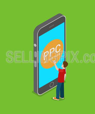 Mobile PPC pay per click flat 3d isometry isometric online internet marketing concept web vector illustration. Man touch big smart phone screen pay-per-click button. Creative technology collection.