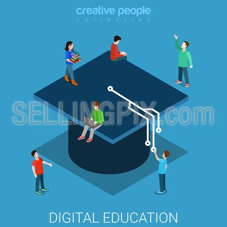 Digital education university flat 3d isometry isometric knowledge concept web vector illustration. Students big graduate cap tassel styled as electronic board track. Creative people collection.