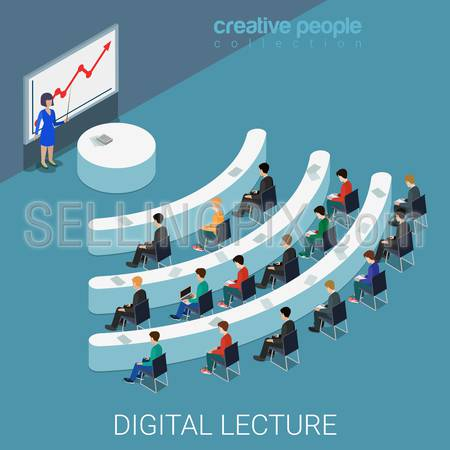 Digital lecture web conference flat 3d isometry isometric education knowledge concept web vector illustration. Class auditory wi-fi sign shaped table style interior. Creative people collection.