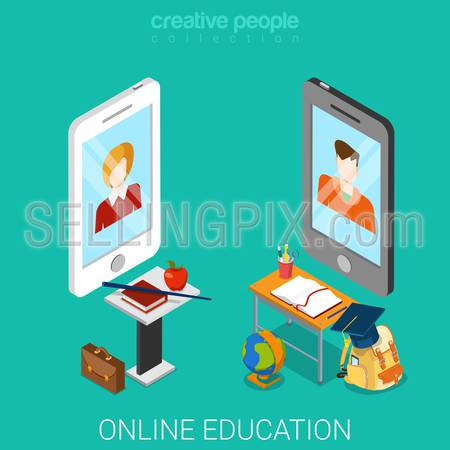 Online education flat 3d isometry isometric technology knowledge concept web vector illustration. Big smartphones teacher student tables tools equipment icons.