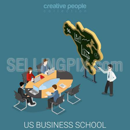 US business school flat 3d isometry isometric education course concept web vector illustration. Lecture class coach before USA map shaped blackboard. Creative people collection.