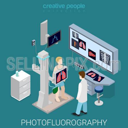 Photofluorography process flat 3d isometry isometric hospital medical concept web vector illustration. Medicine room interior equipment. Creative people collection.