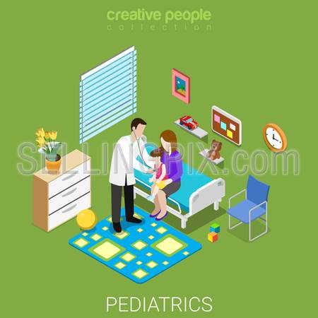 Pediatrics flat 3d isometry isometric healthcare hospital clinic concept web vector illustration. Pediatrician visiting girl and mom in ward interior. Creative people collection.