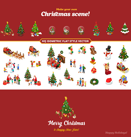 Christmas New Year Flat Isometric