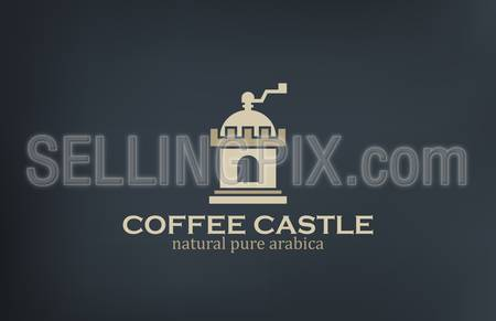 Coffee Mill such as Castle Logo vintage design vector template. Good for Coffee & Coffeehouse retro Logotype. Creative concept icon.