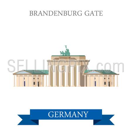 Brandenburg Gate in Berlin Germany. Flat cartoon style historic sight showplace attraction point of interest web site vector illustration. . World countries cities vacation travel sightseeing collection.