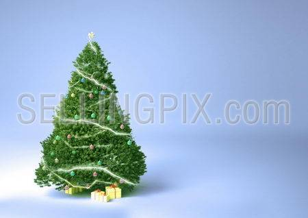 Christmas tree and presents on a soft background HQ render