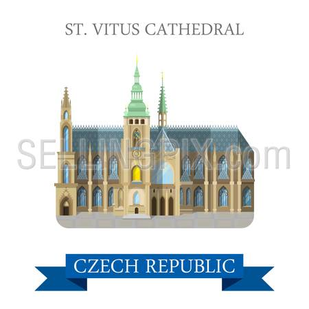 St Vitus Cathedral in Prague Czech Republic. Flat cartoon style historic sight showplace attraction landmarks web site vector illustration. World countries cities vacation travel sightseeing collection.
