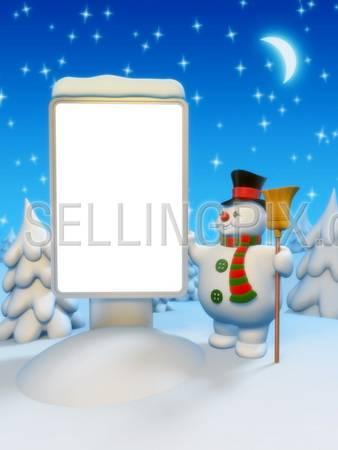 Copyspace lightbox and snowman