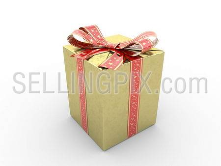 Gold gift box fancy bow Series (red stripe with stars on gold packing paper)