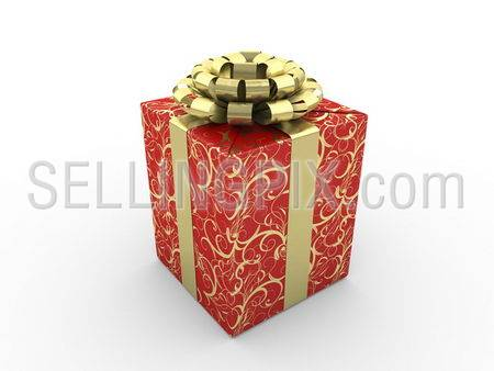 Red gift box Series (gold stripe bow with stars on red packing paper)