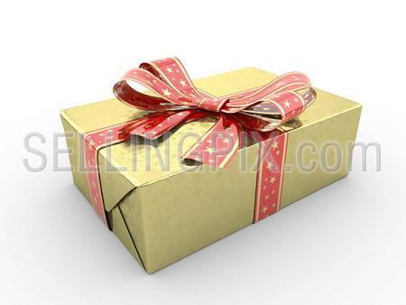 Gold gift box Series fancy bow (red stripe with stars on gold packing paper)