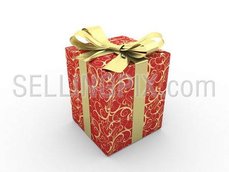 Red gift box fancy bow Series (gold stripe with stars on red packaging paper)