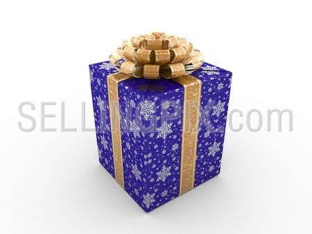 Blue gift box Series (orange stripe with stars on blue packaging paper)