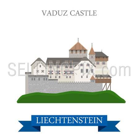 Vaduz Castle in Liechtenstein. Flat cartoon style historic sight showplace attraction landmarks web site vector illustration. World countries cities vacation travel sightseeing collection.