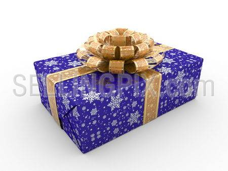 Blue gift box fancy bow Series (gold stripe with stars on blue packaging paper)