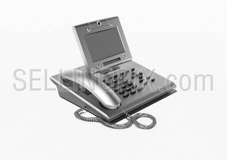 Stylish office phone with copyspace (Metallic modern style office phone with large display)