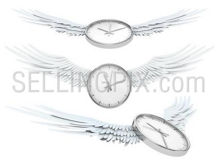 Pretty flying time (Time spending concept – clock with wings)