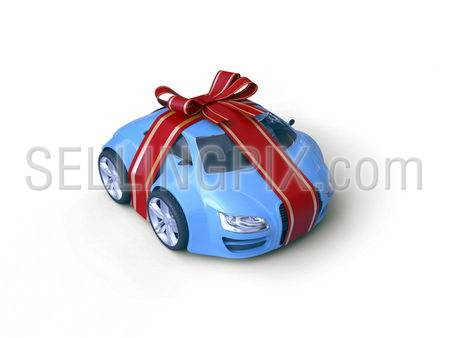 Car Gift Baby Coupe Series (Gift stripe over little car with a bow, micromachines series) – original design