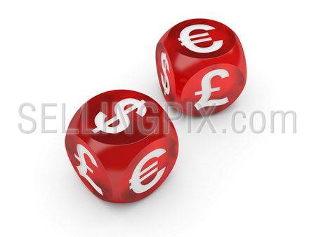 Currency casino. Dice Series (Lying dices with a currencies signs on the sides)