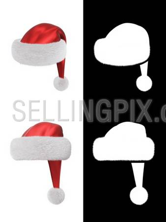 Santa's hat type 1 (fur alpha channel included to use in any design)
