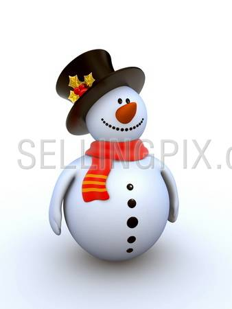 Snowman isolated winter series (fancy snowman on white background isolated)