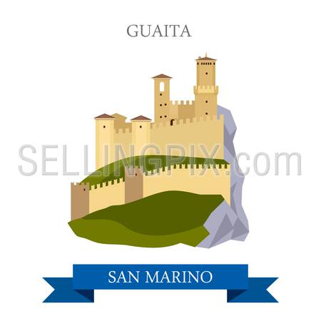 Guaita in San Marino. Flat cartoon style historic sight showplace attraction web site vector illustration. World countries cities vacation travel sightseeing collection.