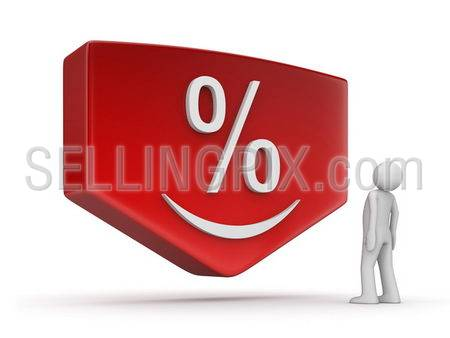 Sale/discount series (3d isolated character, red plate, arrow, smiling percentage sign)