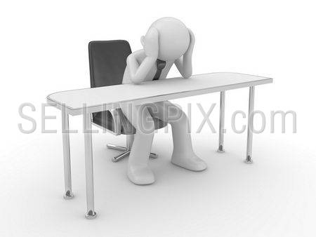 Thinking man at workplace (people at office, stuff, manager series; 3d isolated character)