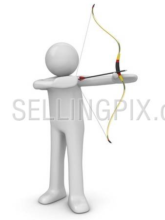 Archer aiming (3d isolated characters sports series)