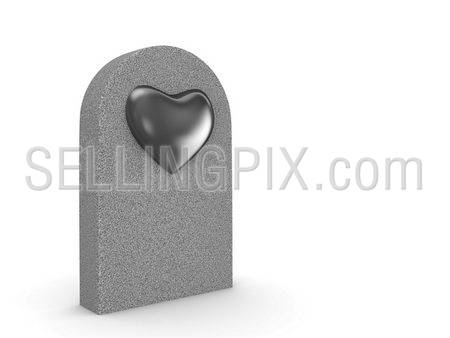 Love grave (love, valentine day series; 3d isolated character)