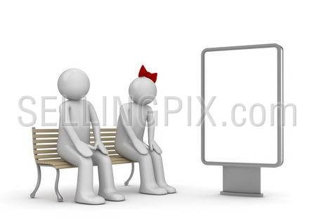 Shy couple on a bench with copyspace (love, valentine day series; 3d isolated characters)