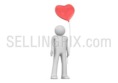 Man with heart balloon (love, valentine day series; 3d isolated characters)