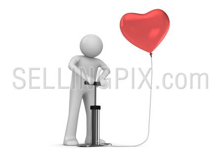 Pump that heart (love, valentine day series; 3d isolated characters)