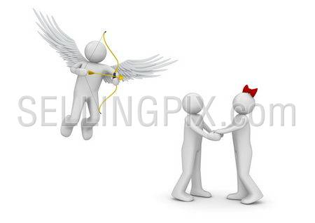 Cupid and couple (love, valentine day series; 3d isolated characters)