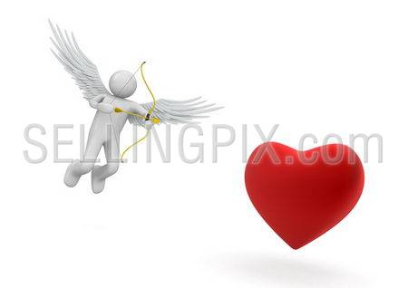 Cupid (love, valentine day series; 3d isolated characters)