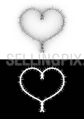 Barbwire heart with clipping path (love, valentine day series)