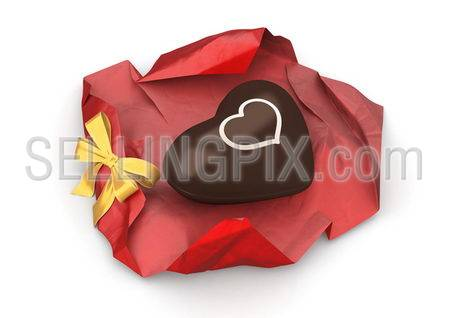 Sweet chocolate heart unwrapped (love, valentine day series; 3d isolated characters)