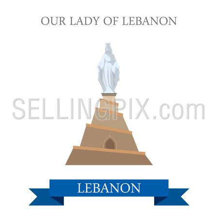 Our Lady of Lebanon Statue Monument. Flat cartoon style historic sight showplace attraction web site vector illustration. World countries cities vacation travel sightseeing Asia collection.