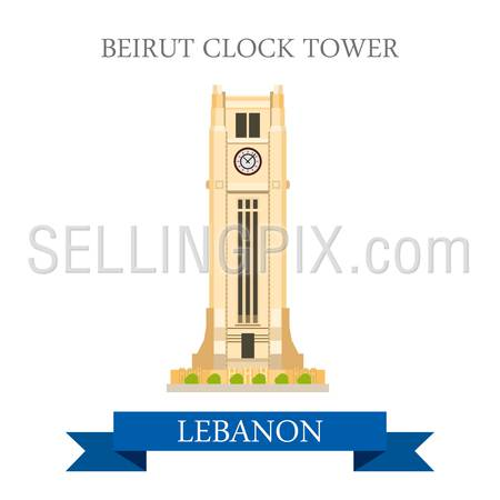 Beirut Clock Tower in Lebanon. Flat cartoon style historic sight showplace attraction web site vector illustration. World countries cities vacation travel sightseeing Asia collection.