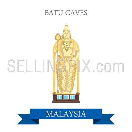 Batu Caves in Selangor Malaysia. Flat cartoon style historic sight showplace attraction web site vector illustration. World countries cities vacation travel sightseeing Asia collection.