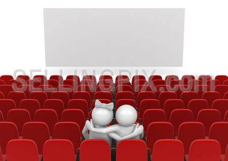 Couple in cinema (love, valentine day series; 3d isolated characters)
