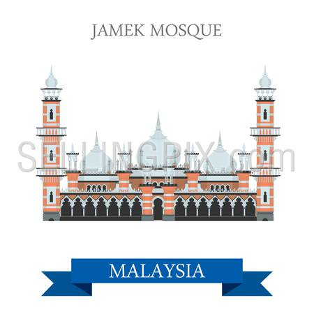Jamek Mosque in Kuala Lumpur Malaysia. Flat cartoon style historic sight showplace attraction web site vector illustration. World countries cities vacation travel sightseeing Asia collection.