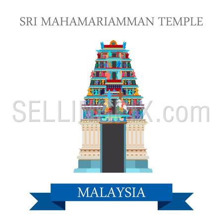 Sri Mahamariamman Hindu Temple in Malaysia. Flat cartoon style historic sight showplace attraction web site vector illustration. World countries cities vacation travel sightseeing Asia collection.