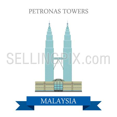 Petronas Twin Towers in Kuala Lumpur Malaysia. Flat cartoon style historic sight showplace attraction web site vector illustration. World countries cities vacation travel sightseeing Asia collection.