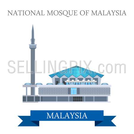 National Mosque of Malaysia. Flat cartoon style historic sight showplace attraction web site vector illustration. World countries cities vacation travel sightseeing Asia collection.