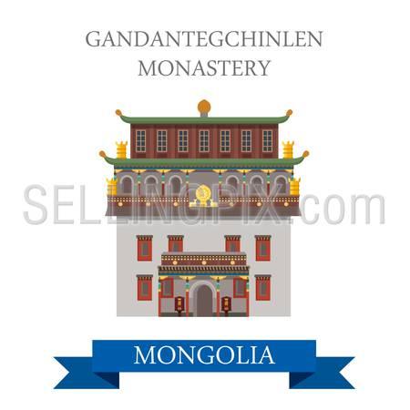 Gandantegchinlen Monastery in Ulaanbaatar (Ulan Bator) Mongolia. Flat cartoon style historic showplace attraction web site vector illustration. World cities vacation travel sightseeing Asia collection