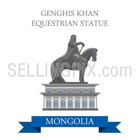 Genghis Khan Equestrian Statue in Mongolia. Flat cartoon style historic sight showplace attraction web site vector illustration. World countries cities vacation travel sightseeing Asia collection.