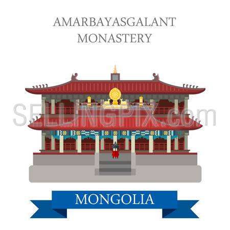 Amarbayasgalant Buddhist Monastery in Mongolia. Flat cartoon style historic sight showplace attraction web site vector illustration. World countries cities vacation travel sightseeing Asia collection.